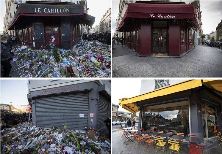 V Parizu so pred ljudje pred zaprte lokale in bare položili žalno cvetje v znak solidarnosti. Foto: EPA
