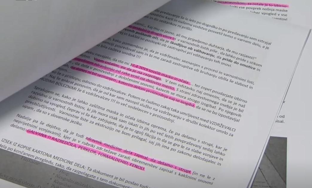 Dokumenti, ki jih je posredoval Namar. Foto: TV Slovenija, zajem zaslona