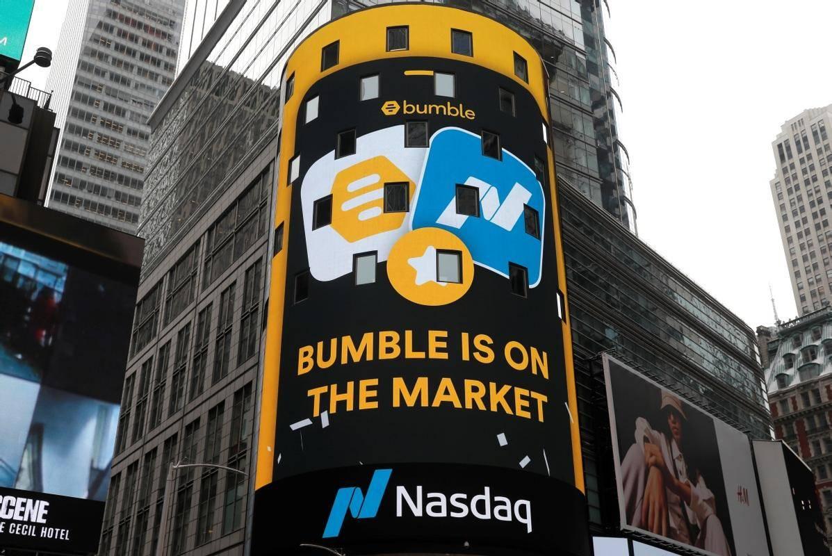 Bumble (aplikacija za spletne zmenke z več kot 12 milijoni uporabnikov) je prišel na trg, se je izpisalo na velikem zaslonu pročelja newyorške borze Nasdaq, številni pa bi pripomnili, da je na trgu tudi