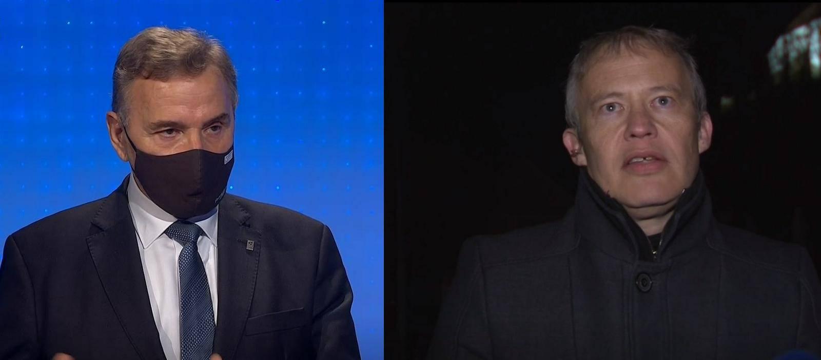 V Odmevih sta bila gosta Branko Meh in Matej Lahovnik. Foto: TV Slovenija, zajem zaslona